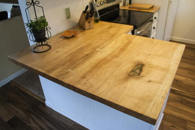 Reclaimed wood counter top