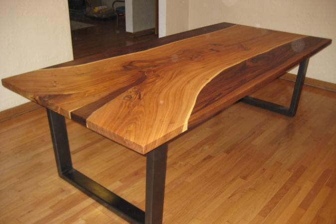 Large table in elm and black walnut