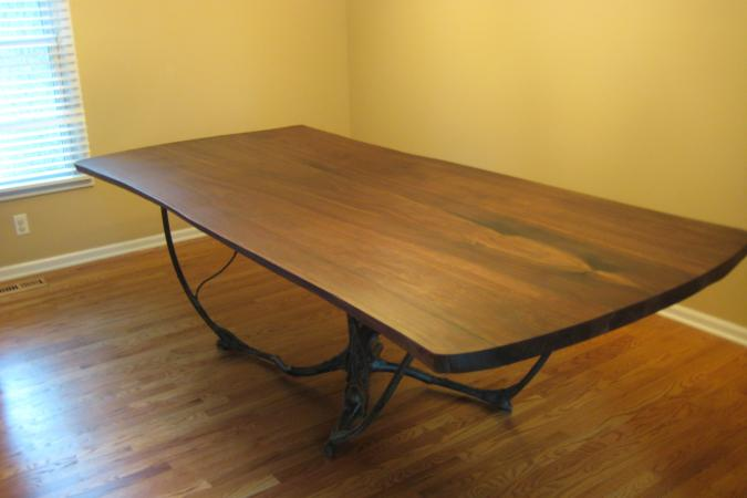 Dining table in reclaimed black walnut
